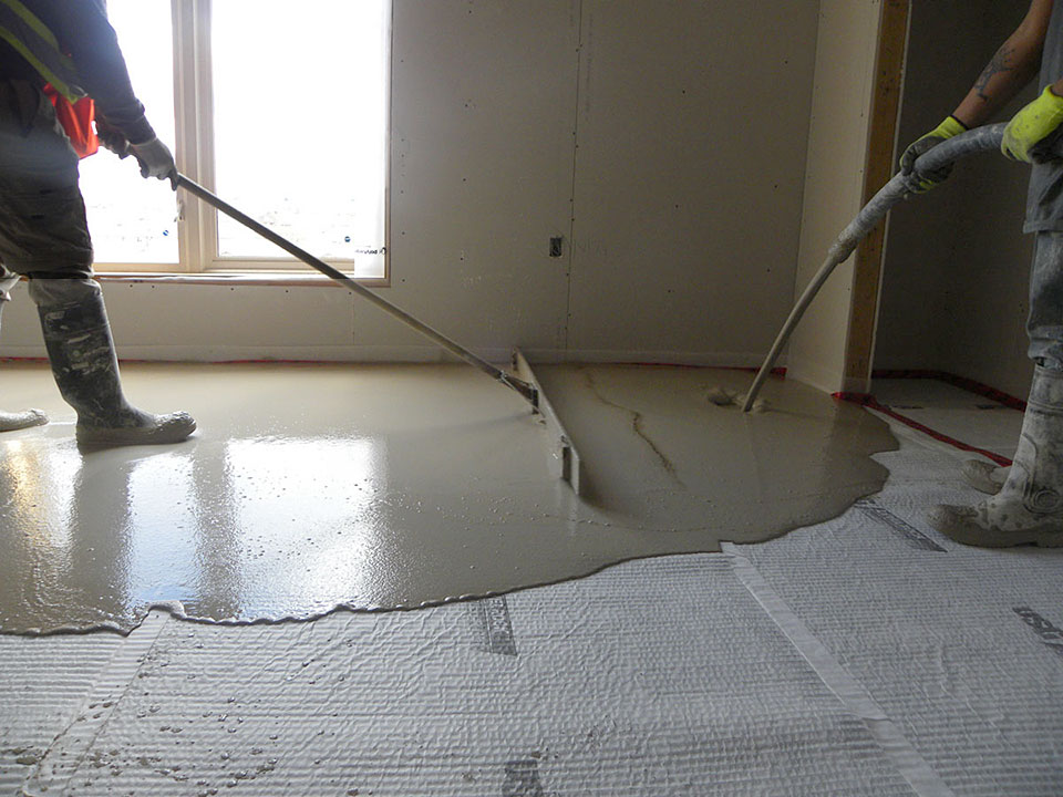Allstate Interiors, Fred Soward, Poured Cement flooring sound attenuation